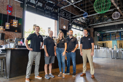 OutKick's Chad Withrow and Paul Kuharsky, with 6th & Peabody General Manager Heather Fredrick, OutKick's Jonathan Hutton and Managing Director of 6th & Peabody, Adam Warren