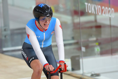 Keely Shaw reacts after winning the bronze medal in the women's C4 track individual pursuit on Wednesday, Canada's first medal of Tokyo 2020. PHOTO: Jean-Baptiste Benavent/Cycling Canada (CNW Group/Canadian Paralympic Committee (Sponsorships))