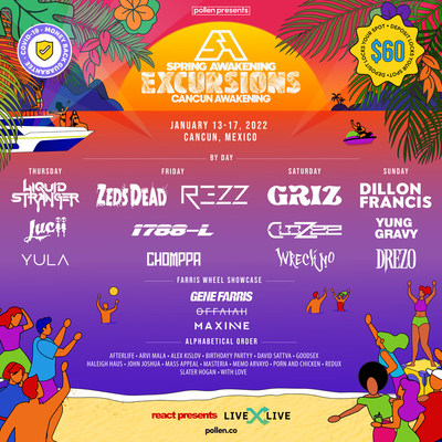 React Presents' Spring Awakening Excursions: Cancun Awakening lineup is here! The festival will kick off from January 13-17, 2022.