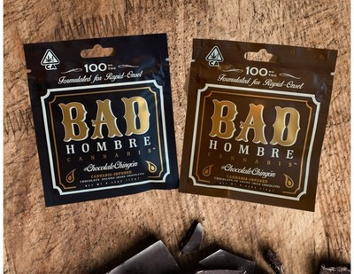 Bad Hombre Cannabis 12g artisanal chocolate bars packed with 100 mg of THC extract.