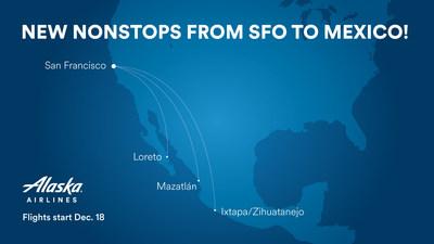 Alaska Airlines announces new nonstop flights between San Francisco and three sunny destinations in Mexico.