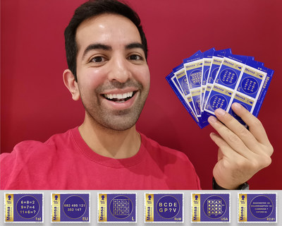 Mensa member Ghazanfar Karamat with the Mensa 75th Anniversary Stamps.