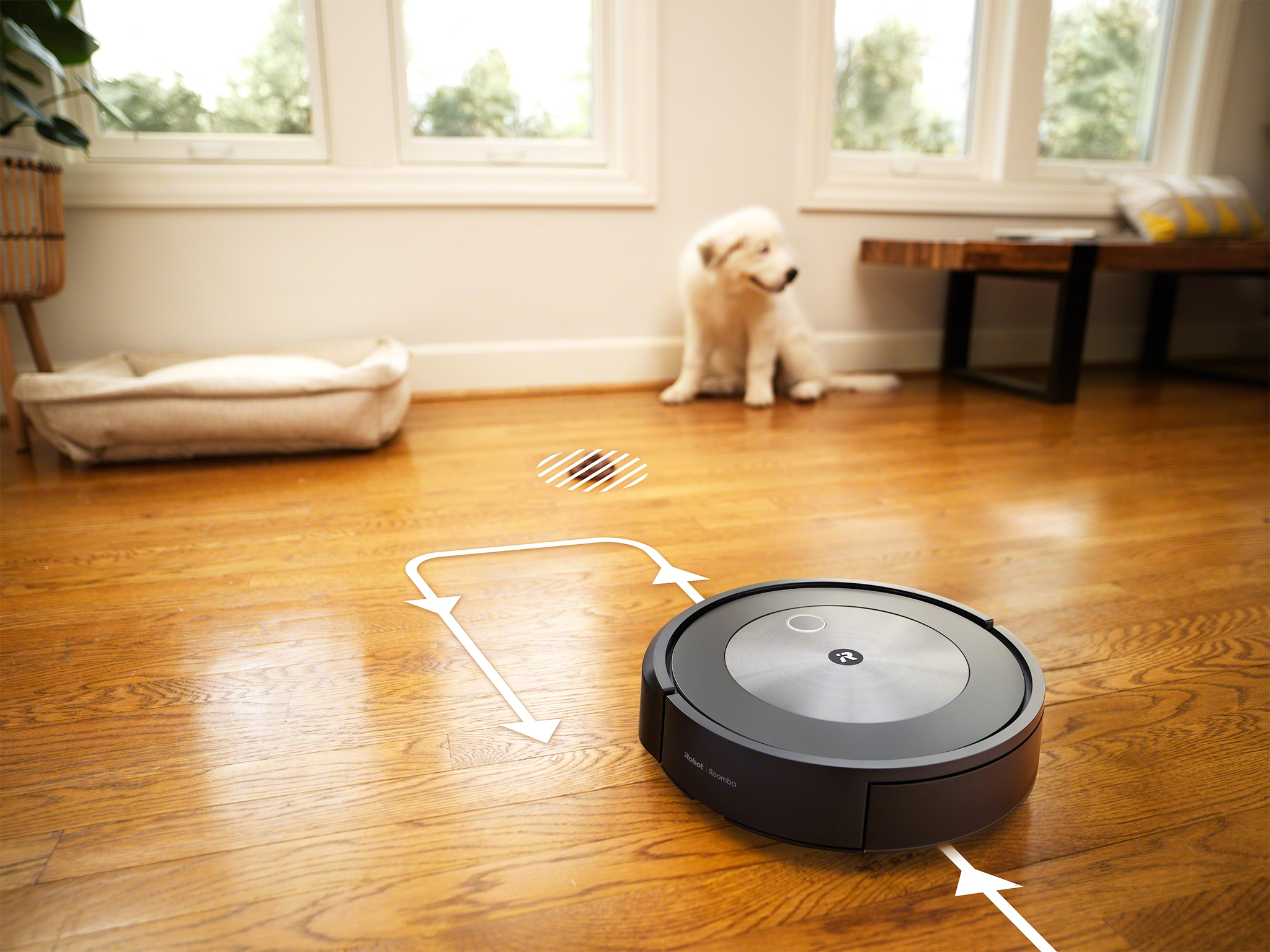 The iRobot Roomba j7+ reacts to objects in the home with PrecisionVision Navigation, giving the robot the ability to identify and avoid common obstacles, such as pet waste.
