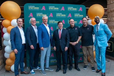 Caesars Sportsbook Co-Presidents Eric Hession and Chris Holdren, Caesars Sportsbook Chief Trends Officer Trey Wingo, Governor of Arizona Doug Ducey, CEO and President of Arizona Diamondbacks Derrick Hall, World Series Champion Luis Gonzalez, and JB Smoove celebrate the launch of sports betting in Arizona at Caesars Sportsbook at Chase Field, Home of the Arizona Diamondbacks on Thursday, Sept. 9, 2021