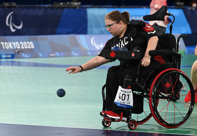 Alison Levine (alongside teammates Marco Dispaltro and Iulian Ciobanu) will be playing for Canada in boccia pairs play on Thursday. PHOTO: Scott Grant/Canadian Paralympic Committee (CNW Group/Canadian Paralympic Committee (Sponsorships))