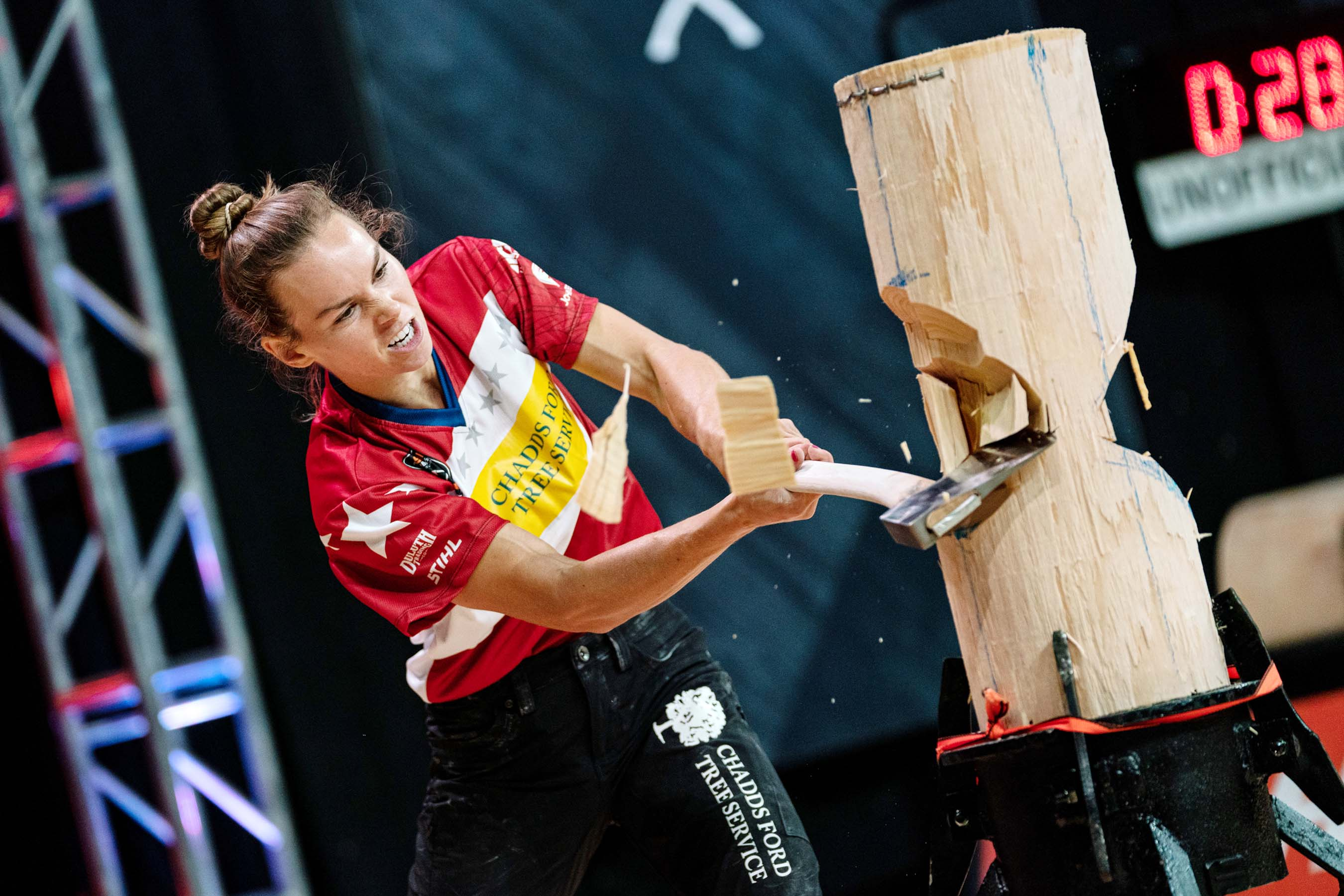 Martha King, 2019 U.S. STIHL TIMBERSPORTS Women's Division Champion, competes in the Standing Block, a fourth discipline added to the Women's Division this season.